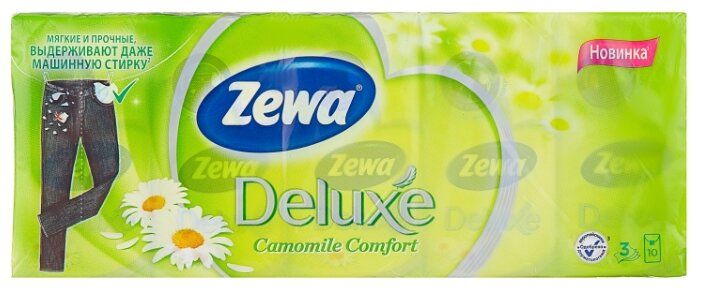 Платочки Zewa Deluxe Ромашка бумажные носовые, 3 слоя, 10 шт. x 10 100 шт.