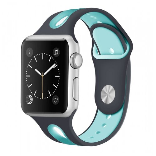 Сменный ремешок Nuobi Sport ver.2 для Apple Watch, Черный/бирюзовый 38/40 mm сменный ремешок nuobi для apple watch 38 40mm черный