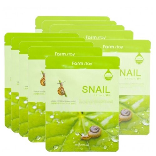 Farmstay Тканевая маска Visible Difference Mask Sheet Snail с экстрактом улитки, 23 мл, 10 шт. farmstay тканевая маска для лица с коллагеном visible difference mask sheet collagen 23 мл