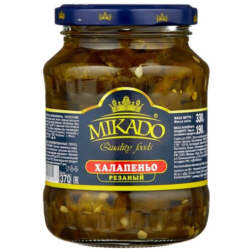 Халапеньо резаный MIKADO стеклянная банка 330 г 370 мл mikado mikazuki medium spin 270 5 25 г