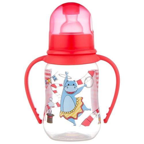 lubby бутылочка с соской малышарики 125 мл с рождения желтый Lubby Бутылочка JUST Lubby с соской и ручками, 125 мл с рождения, красный