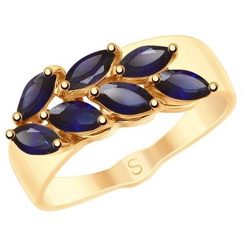 SOKOLOV Золотое кольцо с синими корундами (синт.) 715224, размер 19 золотое кольцо ювелирное изделие 01k663088