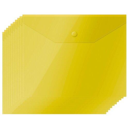 Купить OfficeSpace Папка-конверт на кнопке А5, пластик 150 мкм, 10 шт желтый, Файлы и папки