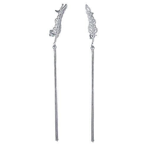 JV Серебряные серьги с фианитом SE000509-SR-001-WG