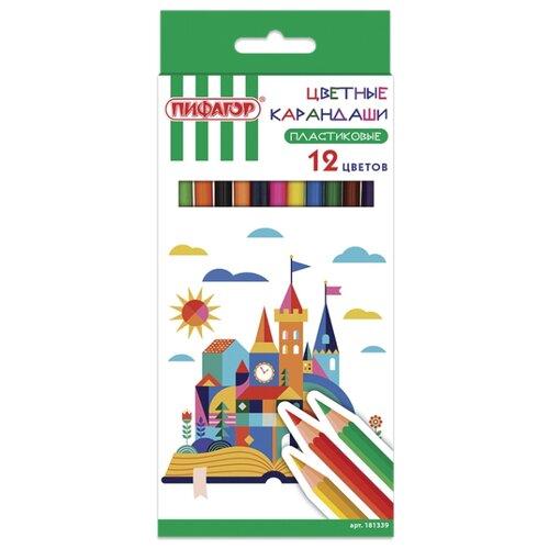 Пифагор Карандаши цветные Замок 12 цветов (181339) восковые карандаши пифагор 12 цветов 222962