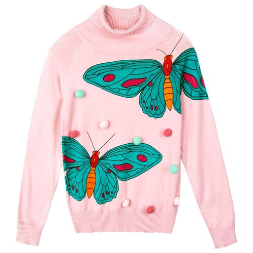 Купить Свитер playToday размер 116, розовый/зеленый/бордовый, Свитеры и кардиганы