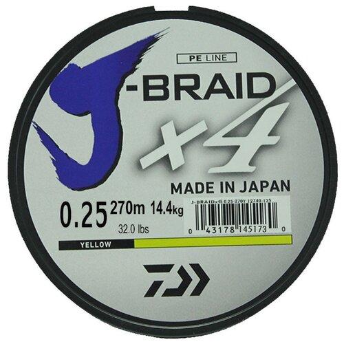 Плетеный шнур DAIWA J-Braid X4 yellow 0.25 мм 270 м 14.4 кг