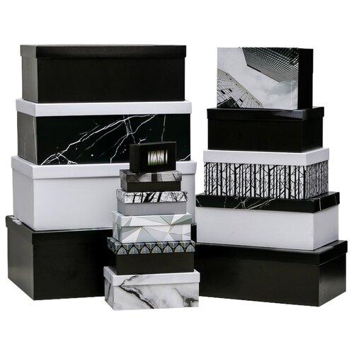Фото - Набор подарочных коробок Дарите счастье Чёрно-белый, 15 шт. черный/белый набор подарочных коробок дарите счастье универсальный 10 шт бежевый белый черный