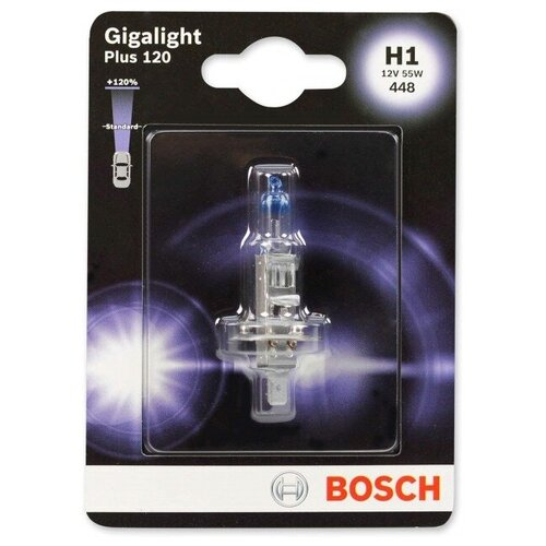 Лампа автомобильная BOSCH H1 GIGALIGHT + 120%, 1987301108