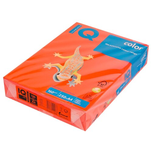 Фото - Бумага IQ color A4 CO44 160 г/м² 250 лист. кораллово-красный 1 шт. бумага a4 250 шт iq color cr20