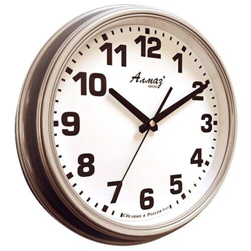 Часы настенные кварцевые Алмаз A73/A74 серый/белый часы настенные кварцевые алмаз e66 серый
