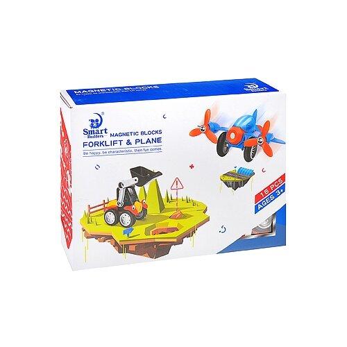 Магнитный конструктор Smart Builders Magnetic Blocks 390 Forklift & Plane library builders