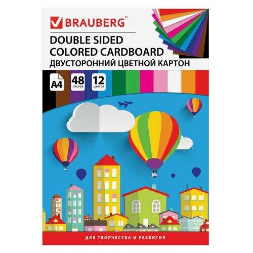 Купить Картон цветной А4 ТОНИРОВАННЫЙ В МАССЕ, 48 листов 12 цветов, склейка, 180 г/м2, BRAUBERG, 210х297 мм, 124744124744, Цветная бумага и картон
