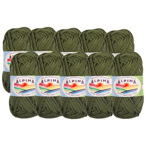 Пряжа Alpina Garry, 100 % хлопок, 50 г, 10 шт., 05 нефрит (т.зеленый)