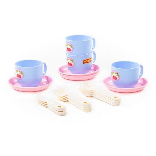 Набор посуды Полесье Минутка на 4 персоны голубой/розовый/бежевый полесье набор игрушечной посуды алиса на 4 персоны 58980 цвет в ассортименте