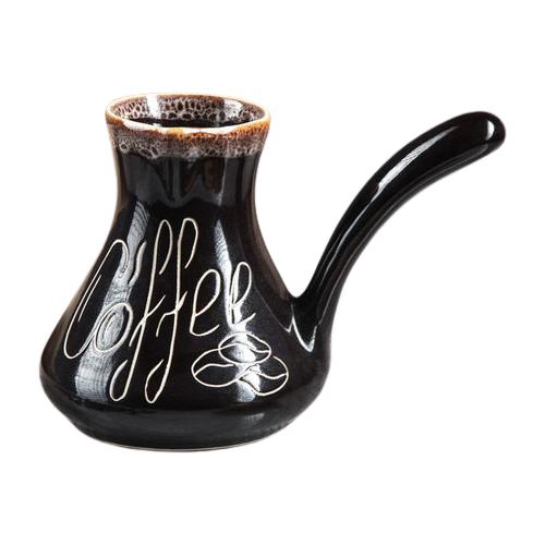 Турка Керамика ручной работы Кофе роспись (500 мл), темно-коричневый турка керамика ручной работы лотос 300 мл черный