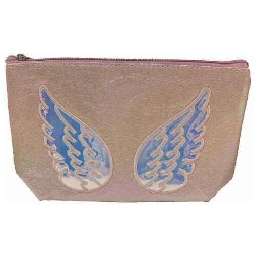 Нежно-розовая косметичка LUKKY с аппликацией в виде крыльев с голографией. недорого