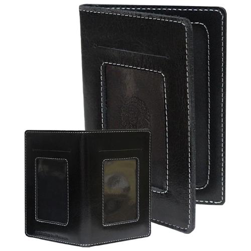 Бумажник портмоне для документов водителя из кожи ОВ-4-A дымчато-черный Apache