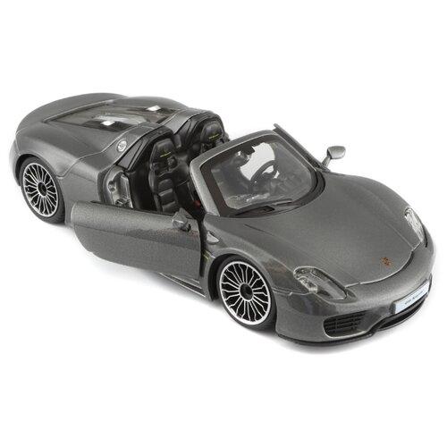 Купить Легковой автомобиль Bburago Porsche 918 Spyder (18-21076) 1:24 серый металлик, Машинки и техника
