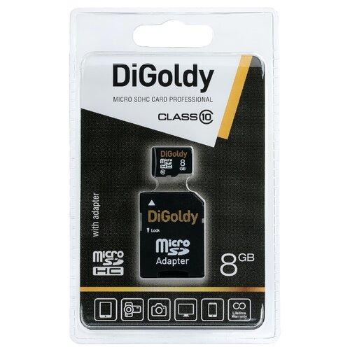 Карта памяти Digoldy microSDHC class 10 8GB + SD adapter
