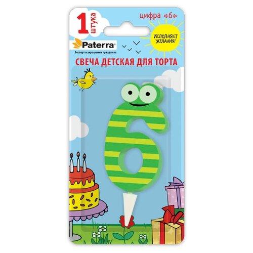 Paterra Свеча для торта Детская, цифра 6 зеленый/желтый