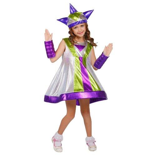 Купить Костюм Elite CLASSIC Инопланетянка, фиолетовый/серебристый/зеленый, размер 30 (122), Карнавальные костюмы