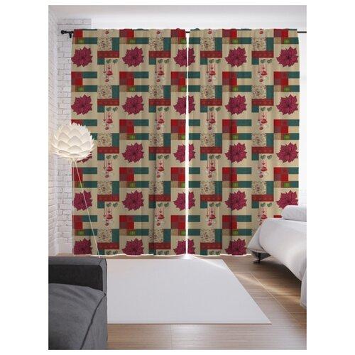 Портьеры JoyArty Лабиринт с цветами на ленте 265 см (p-6178)