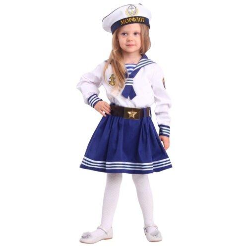 Купить Костюм пуговка Морячка (2048 к-18), белый/синий, размер 140, Карнавальные костюмы