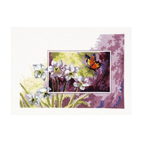 Купить Набор для вышивания Нарциссы и бабочка, Permin, Наборы для вышивания