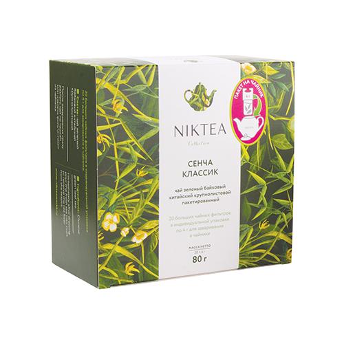 Фото - Чай зеленый Niktea Sencha classic в пакетиках для чайника, 80 г 20 шт. чай в пакетиках фиточаи байкальские женский лечебный с боровой маткой 20 шт по 1 5 г