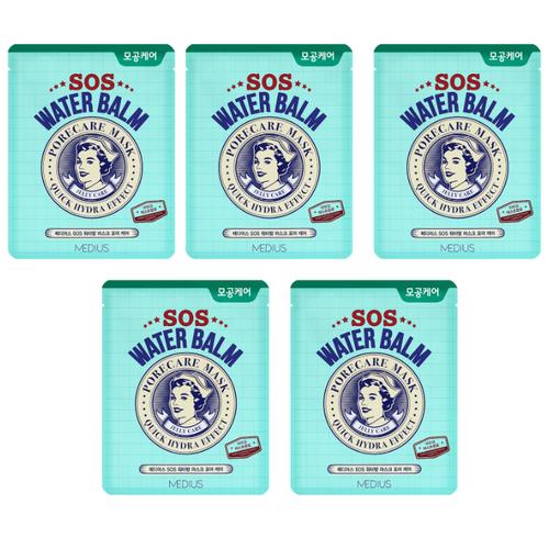 MEDIUS SOS Water Balm Mask Pore Care тканевая экспресс-маска ухаживающая за порами 30 мл 5 шт..