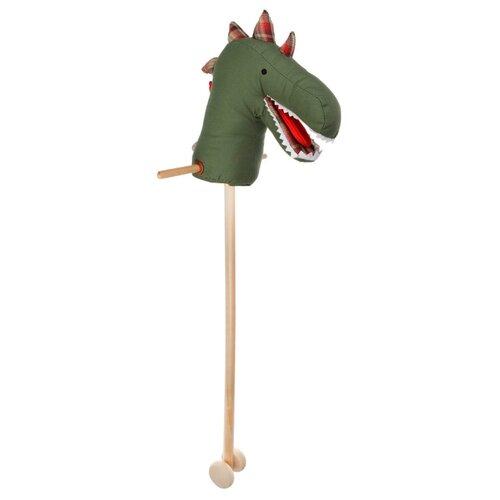 Купить Лошадка на палке Наша игрушка Динозавр WJ-214 зеленый/красный, Каталки и качалки