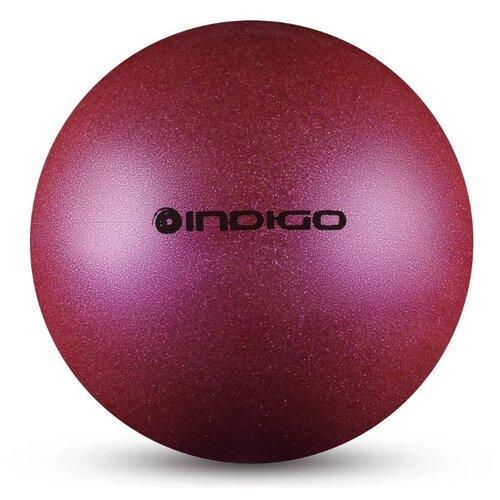 цена Мяч для художественной гимнастики Indigo IN118 фиолетовый с блестками онлайн в 2017 году