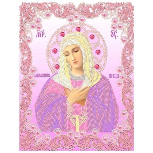 Купить Богородица Умиление (рис. на сатене 20х25) (строчный шов) 20х25 Конек 7109, Конёк, Канва