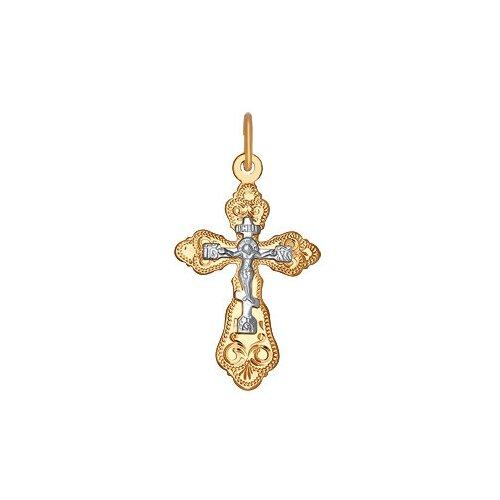 SOKOLOV Крест из комбинированного золота с гравировкой 121214