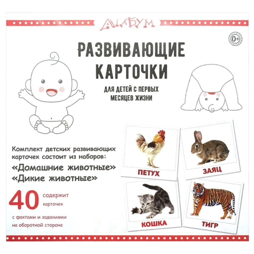 Купить Набор карточек Агабум Домашние животные. Дикие животные 40 шт., Дидактические карточки