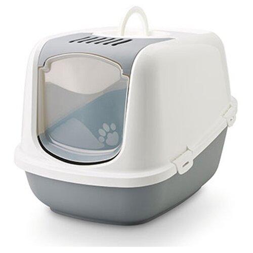 Туалет-домик для кошек SAVIC Nestor Jumbo 66.5х48.5х46.5 см белый/серый