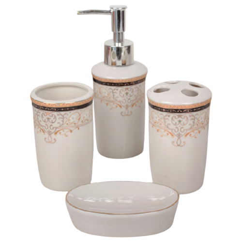 Фото - Набор для ванной Доляна Золотая роскошь 870331, белый/золотистый набор для ванной доляна грация 2698471 персиковый