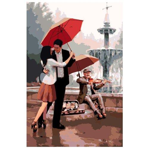 Купить Картина по номерам Живопись по Номерам Под красным зонтом , 40x60 см, Живопись по номерам, Картины по номерам и контурам