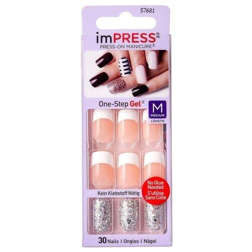 Накладные ногти KISS imPRESS Press-On Manicure средняя длина Серебряный френч 30 шт. недорого