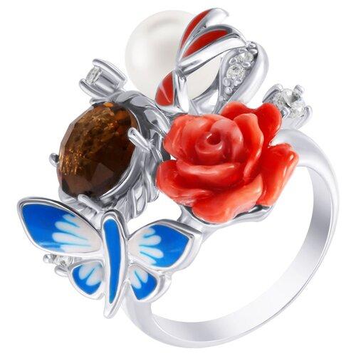ELEMENT47 Кольцо из серебра 925 пробы с цитрином, культивированным жемчугом, силиконом, эмалью и кубическим цирконием SE2237-R_KO_CT_WP_CI_ENAM_001_WG, размер 17- преимущества, отзывы, как заказать товар за 7800 руб. Бренд ELEMENT47