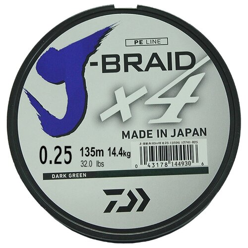 Плетеный шнур DAIWA J-Braid X4 dark green 0.25 мм 135 м 14.4 кг