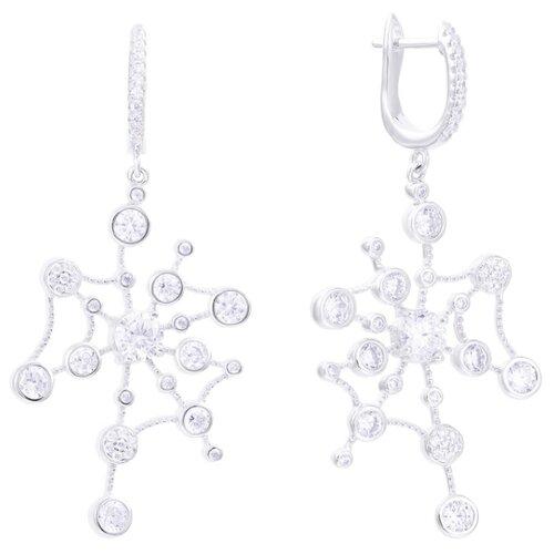 JV Серебряные серьги с фианитом SS-B0965EA-SR-001-WG