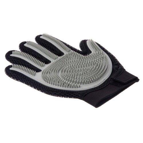 Перчатка силиконовая с шипами на руку большая (СЕРАЯ) / Пуходерка / Перчатка для чистки шерсти / Щетка для шерсти / Перчатка для вычёсывания шерсти