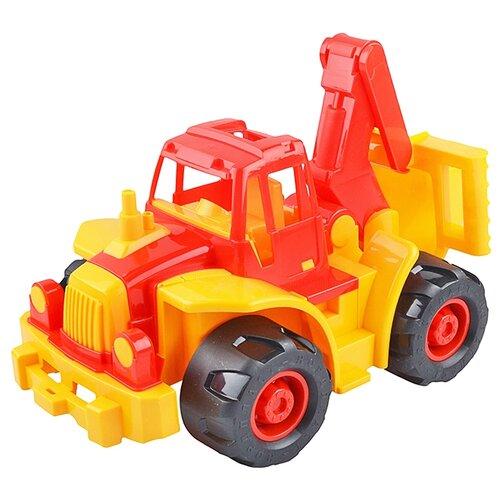 Трактор Нордпласт Богатырь мини с ковшом (298) 35 см красный/желтый трактор нордпласт богатырь с грейдером 68 см разноцветный 099