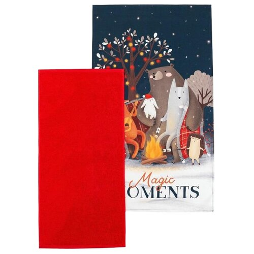 Этель набор полотенец Magic moments кухонное красный/синий
