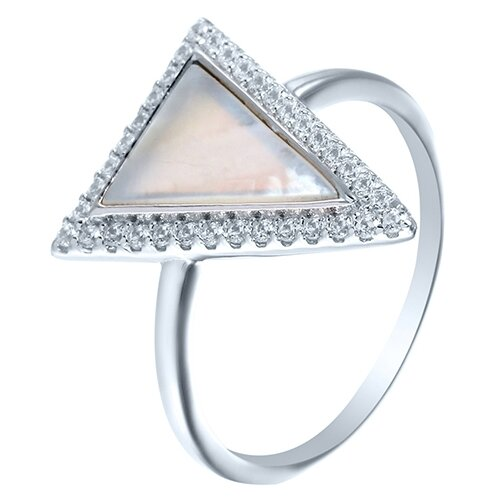 ELEMENT47 Кольцо из серебра 925 пробы с кубическим цирконием и перламутром MT1363-R_KO_SH_001_WG, размер 18