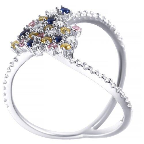 ELEMENT47 Кольцо из серебра 925 пробы с кубическим цирконием DM2247R_KO_001_WG, размер 17