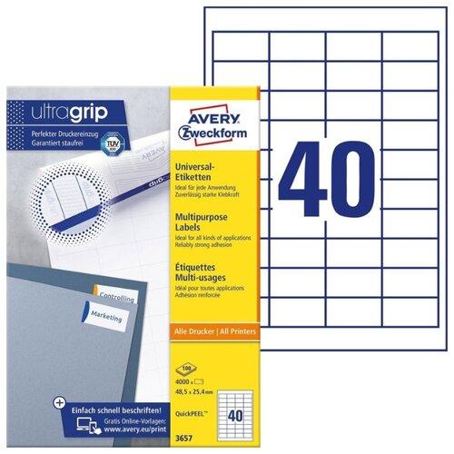 Фото - Этикетки Avery Zweckform, 48,5x25,4 мм, 4000 этикеток, 100 листов, белые этикетки с адресом отправителя 57х32 мм белые