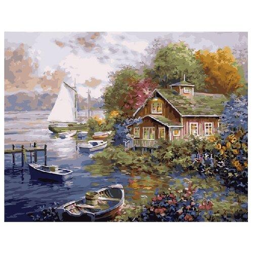 Купить ВанГогВоМне Картина по номерам Домик у причала , 40х50 см (ZX 10122), Картины по номерам и контурам